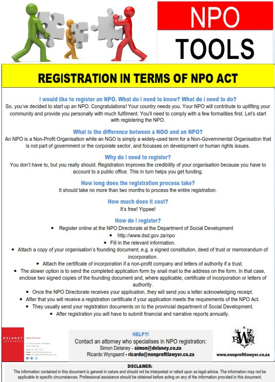 NPO Tools: Registration in terms NPO Act